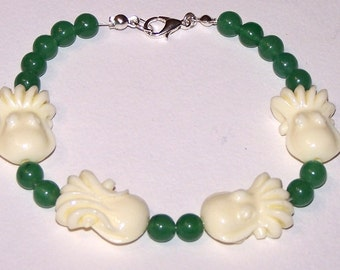 faux coral and jade cephalopod bracelet