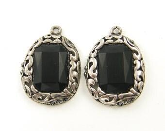 Matte Black Antique Silver Filigree Ornate Pendant Drop Earring Findings |BL3-8|2