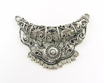 Tribal Antique Silver Filigree Crescent Bib Necklace Pendant Jewelry Connector Ethnic Necklace Finding Ornate Jewelry Component |LG13-9|1