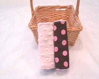 Seat Belt Covers Car Seat Covers  - Lots of Dots Pink READY MADE