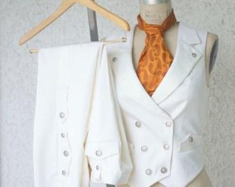 White Wedding Suit---A Women's Steampunk Vest Tuxedo