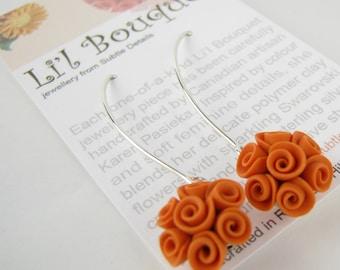 Orange Rose Teardrop Earrings - Polymer Clay, Sterling Silver