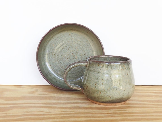 Stoneware Pottery Breakfast Set - One Ceramic Bowl and One Ceramic Cup in Fog Glaze