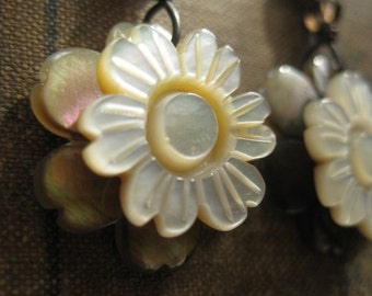 blooms ~ mother of pearl flower gemstone earrings