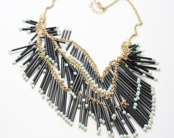 Black Tube and Mint Green Glass Bead Layered Fringe Bib Necklace on Matte Gold Chain (N97)
