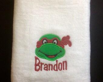 3 Piece TOWEL  SET Ninja Turtle Personalized Towels