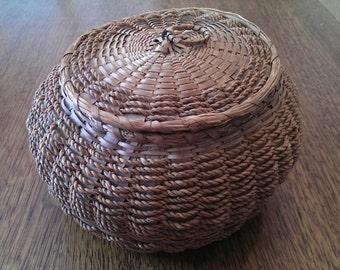 Vintage Lidded Basket or Sewing Basket Original Blue