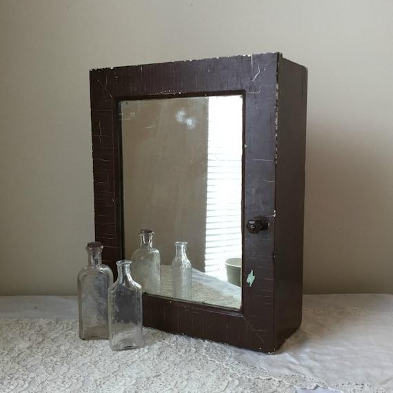 vintage painted wood mirrored medicine cabinet by imsovintage. Black Bedroom Furniture Sets. Home Design Ideas