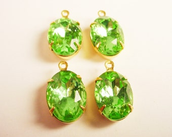 Vintage Peridot Oval Rhinestones 14x10 in Brass Prong Settings 1 Ring Closed Backs - 4 Pieces