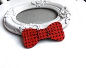 Red bow hair clip hairclip barrette  wooden polka dot cute  pretty