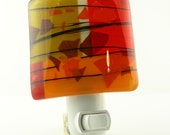 Colorblock Fused Glass Night Light in Red Orange Brown Ivory
