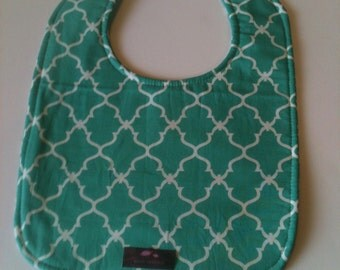 Baby Bib, Dribble Bib, Handmade Bib, Drool Bib,   Aqua  Lattice 10 x 12.5