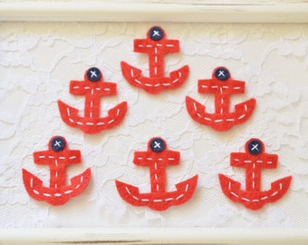 New! Set of 6pcs handmade felt Anchor--red (FT992so)