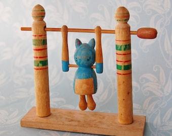 1960s Vintage Acrobat Toy Painted Wood Cat Japan