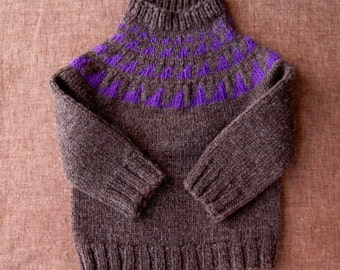 Children's Wool Pullover Sweater Dark Brown and Purple