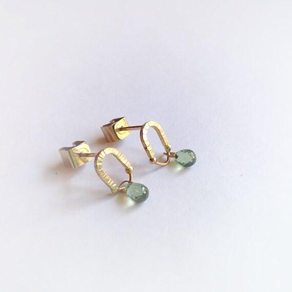 items similar to 14 karat green sapphire earrings post