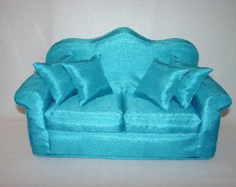 16 Inch  Doll Sofa - Silky - Blue Turquoise - Roll  Arm - Handmade Furniture