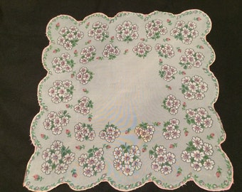 Vintage Pink and White Floral Sheer Ladies' Hankie/Handkerchief with Scalloped Edges