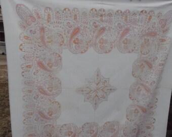 Vintage Pink and Orange Paisley Print Tablecloth