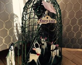 Terrarium birdcage, vintage deer, Secret garden, fairytale garden, vintage garden, shabby cottage, bohemian decor