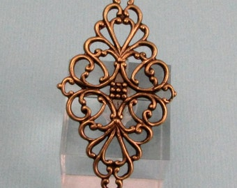 Diamond Filigree Pendant, Brass Ox, AB120