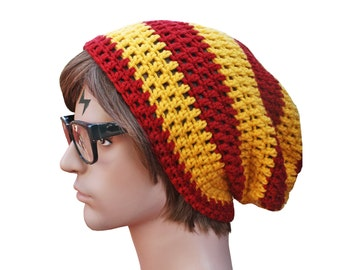 Gryffindor Red and Yellow Harry Potter Inspired Slouch Beanie Mens or Womens