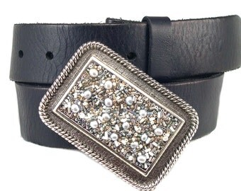 Beaded Belt Buckle - Shimmer Silver Rectangle Cowgirl