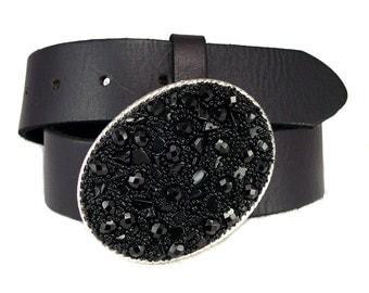 Little Black Beaded Belt Buckle