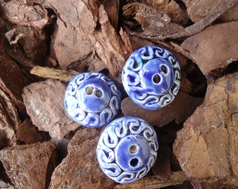3 Blue Marble Swirl Buttons