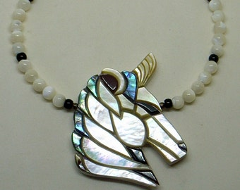 Vintage Unicorn Horse Head Necklace - Abalone And Mother Of Pearl - Carved Pendant - Large - Pearl And Onyx Beads - Lee Sands