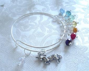 Chasing Rainbows Expandable Stackable Bangle Charm Bracelet