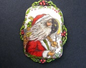 Santa Claus resin scrimshaw technique pin/pendant Moosup Valley Designs