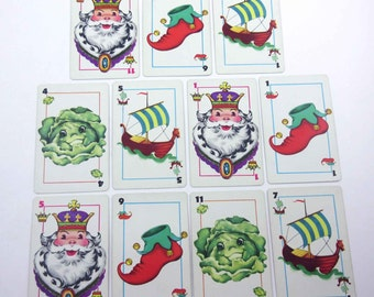 Vintage 1950s Cabbages and Kings Children's Playing Cards by Whitman Set of 11 with Anthropomorphic Cabbages