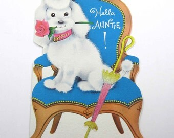 Vintage Mother's Day Greeting Card for Aunt with White Poodle in Blue Chair with Glittered Parasol or Umbrella Rose by Norcross