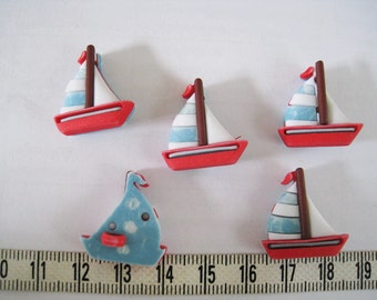 10pcs of Sailboat Sailing Boat Button -   Red with Blue Sail Matte