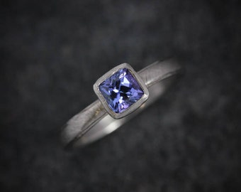 Tanzanite Cushion 14k PD White Gold, Blue Gemstone Ring, White Gold Solitaire, December Birthstone, Ready to Ship Size 8.25