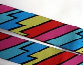 2 yards KABOOM lightning wide Jacquard trim in red pink black yellow turquoise aqua. 1 1/2 inch wide. R2552