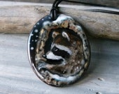 RESERVED Raccoon in the tree  necklace -  fused glass pendant