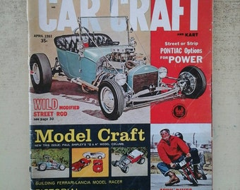 Vintage Magazine Car Craft and Kart , April, 1962 Top Show Cars , Wild Modified Street Rod , Customized Classic Cars ripe for Scrapbooking