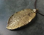 Real Leaf Pendant - 24k Gold - Rose