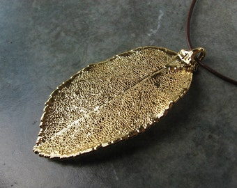 Sale - Free US Shipping - Real Leaf Pendant - 24k Gold - Rose
