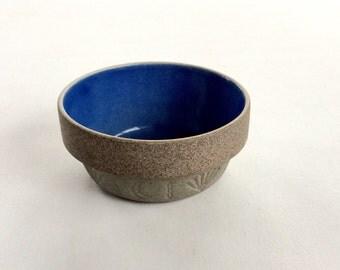 Cobalt Blue Stoneware Bowl 4 inch Small Crock Miniature Salt Glaze
