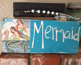 Vintage Mermaid blue Aqua Turquoise wood sign shells and Glitter Reclaimed Wood
