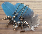 Montana Bird Dangle Earrings Blue Rhinestone Brass Ox Drops on Niobium Ear Wires