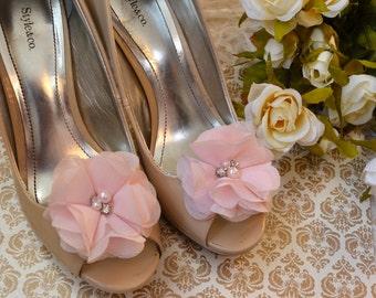Flower Shoe Clips, Pink Flower shoe clips, shoe clips, wedding shoe clips, rhinestone shoe clips, pearl