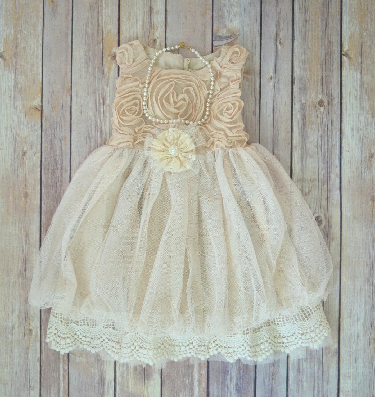 Beige Ivory Lace Flower Girl Dress Boho Flower Girl dress