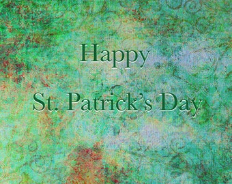 St Patricks Day Greeting Card Shamrock Green Card Photography Happy Saint Patricks Day Card Blank 5 x 7 Note Card