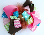 boutique hot PINK brown and AQUA funky fun bow on clip or headband