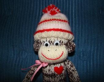 Knitted Girl Sock  Monkey Doll