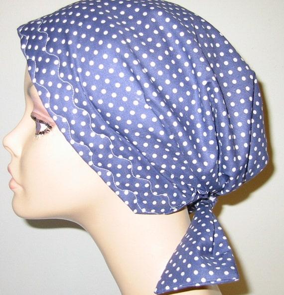 Navy Polka Dots Scrub Hat, Cancer, Chemo Hat, Turban, Hair Loss, Alopecia, Handmade